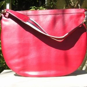 Gucci Bags - Gucci Web Red Leather Shoulder Hobo Bag